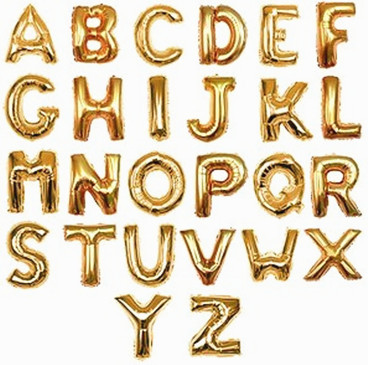 7 inch Gold and Silver Alphabet and Number Foil Balloons