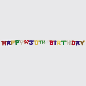 30th Happy Birthday Jointed Banner