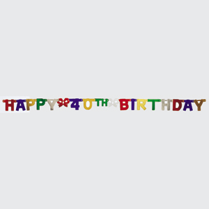 40th Happy Birthday Jointed Banner