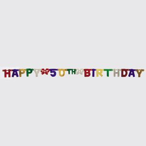 50th Happy Birthday Jointed Banner